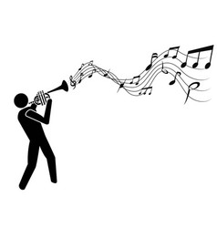 Trumpet blowing music notes vector