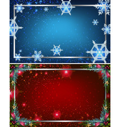 two background templates with blue and red colors vector image vector image