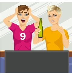two young friends watching sports game vector image