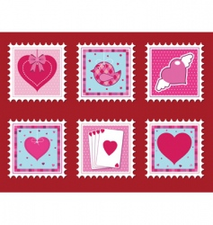 valentine stamps vector image vector image