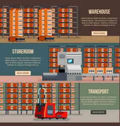 warehouse robots flat banners vector image