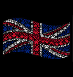 Waving united kingdom flag collage of wind mill vector