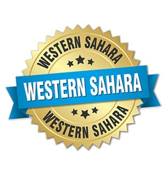 Western Sahara round golden badge with blue ribbon vector