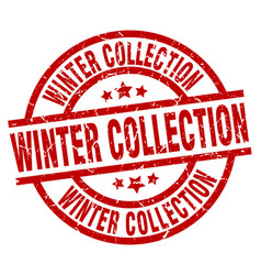 Winter collection round red grunge stamp vector