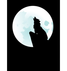 Wolf howling at moon3 vector