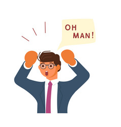 young businessman exclaim in surprise vector image