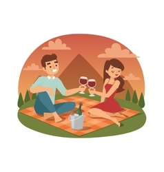 Young couple picnicking summer vector image