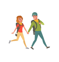young couple walking with backpacks man and woman vector image