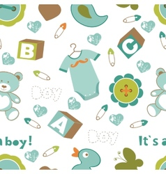 Colorful baby boy pattern vector image vector image