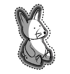Cute rabbit baby toy icon vector