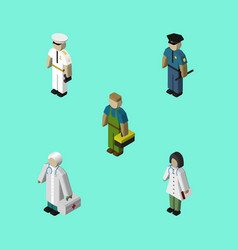 Isometric people set of medic officer plumber vector