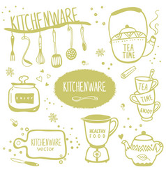 set kitchenware vector image