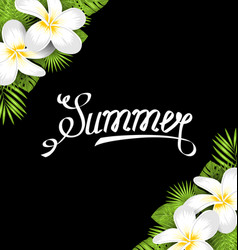 summer border with frangipani flowers and green vector image vector image