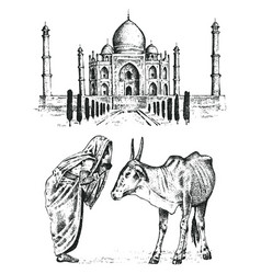 taj mahal an ancient palace in india monk with vector image vector image