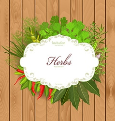 Vintage card with herbs and spices on a wooden vector image vector image