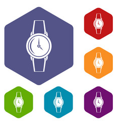 wristwatch icons set hexagon vector image