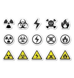 Danger risk warning icons set vector image vector image