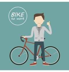 Man with a Bicycle vector image
