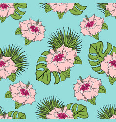 Pattern with tropical leaves and flowers on a vector
