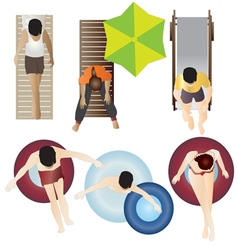 People Pool and Beach top view set 2 vector image