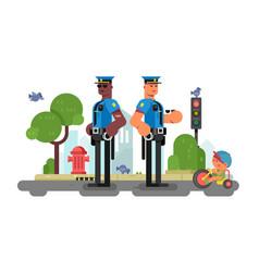 police patrol officer on city street vector image
