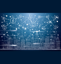 Smart city with neon buildings networks and vector