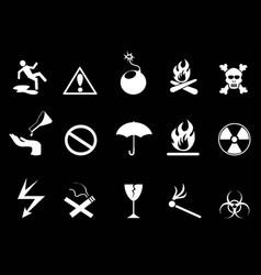 white symbols - hazard warning icons set vector image