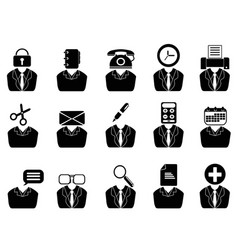 business people with office tools icons set vector image
