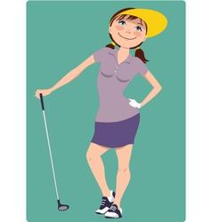 Cute cartoon golfer girl vector image vector image