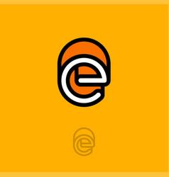 e monogram logo orange vector image