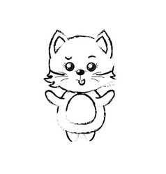 Figure cute cat wild animal with face expression vector
