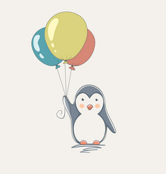 penguin with balloons vector image