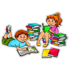 reading kids vector image vector image