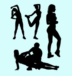 Sport girls activity silhouette vector
