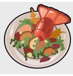 Boiled lobster on a plate vector image