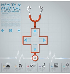 Cross Shape Stethoscope Health And Medical vector image