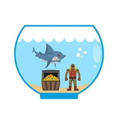 Mini shark in Aquarium and treasure chest Scuba vector image