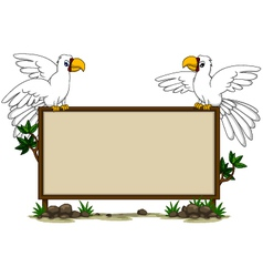 parrot sitting on blank board vector image vector image