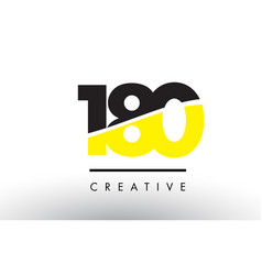 180 black and yellow number logo design vector