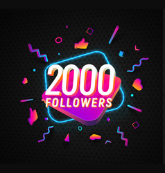 2000 followers celebration in social media vector