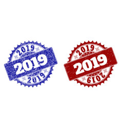 2019 blue and red round stamp seals with corroded vector
