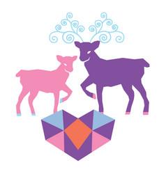 a couple reindeer in love vector image