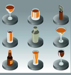 alcohol color isometric icons vector image