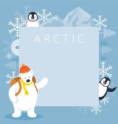 Arctic Polar Bear Backpacker and Penguins Frame vector