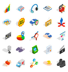 Audience icons set isometric style vector
