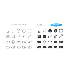 Audio video ui pixel perfect well-crafted vector