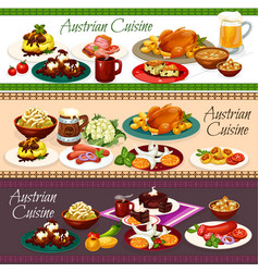 Austrian meat dishes beer drink and desserts vector