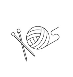 ball of yarn and needle vector image