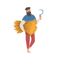 Bearded medieval male peasant carrying hay and vector