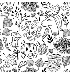 black and white endless pattern with cartoon skull vector image